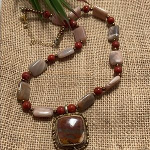 Agate & Red Jasper Necklace